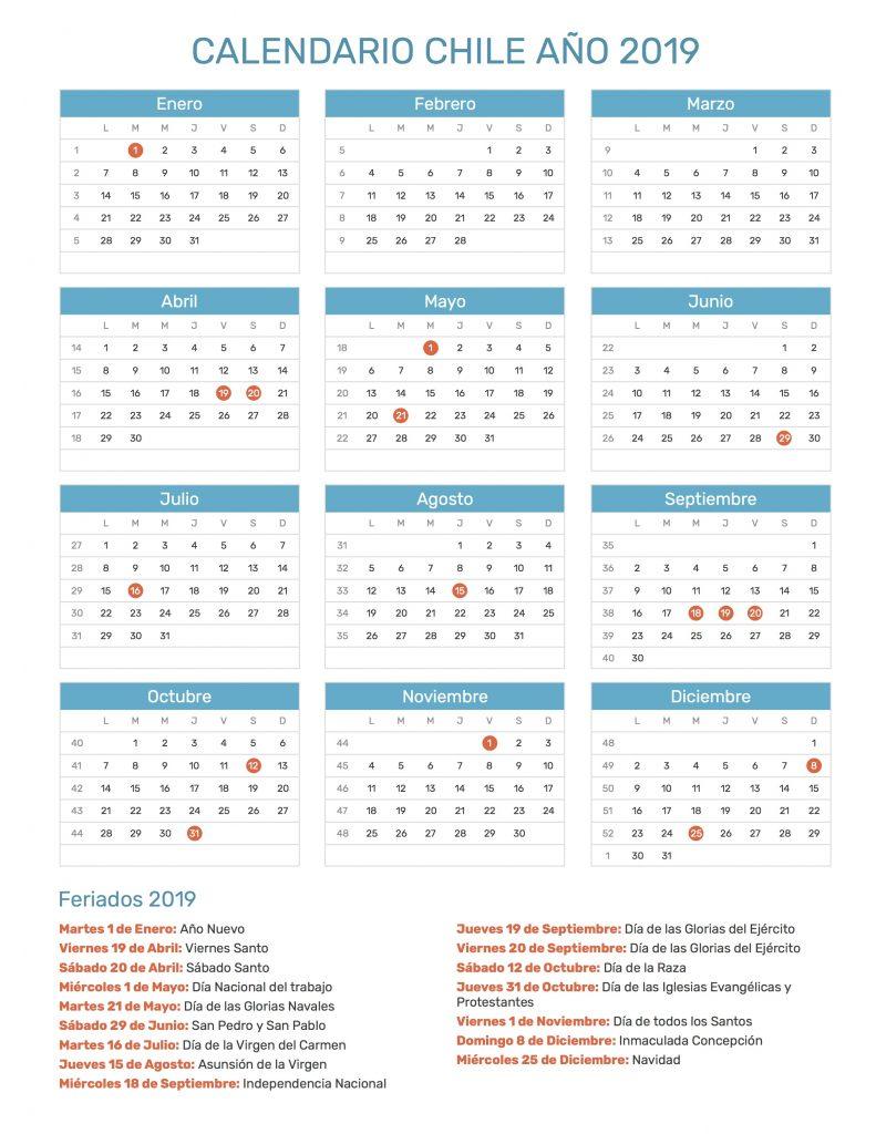 Calendario Chile 2019 Con Feriados.Conoce Cuales Son Los Dias Feriados Para El 2019